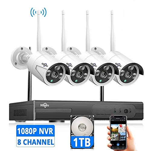 [Expandable 8CH] Wireless Security Camera System with 1TB Hard Drive with One-Way Audio, Hiseeu 8...