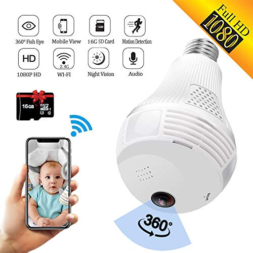 SARCCH Light Bulb Camera,Dome Surveillance Camera 1080P 2.4GHz WiFi 360 Degree Wireless Security IP...