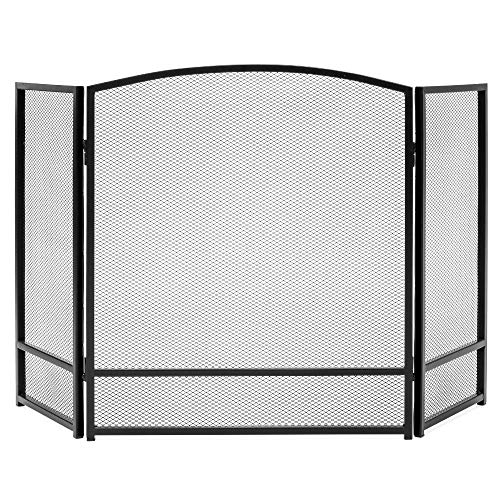 Best Choice Products 47x29in 3-Panel Simple Steel Mesh Fireplace Screen,...