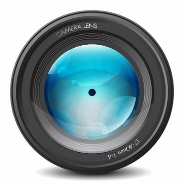 a security camera lens that shows how qaulity it can take