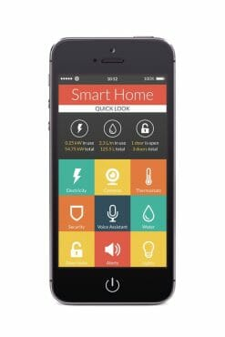 a smartphone that has a remote access to his business surveillance