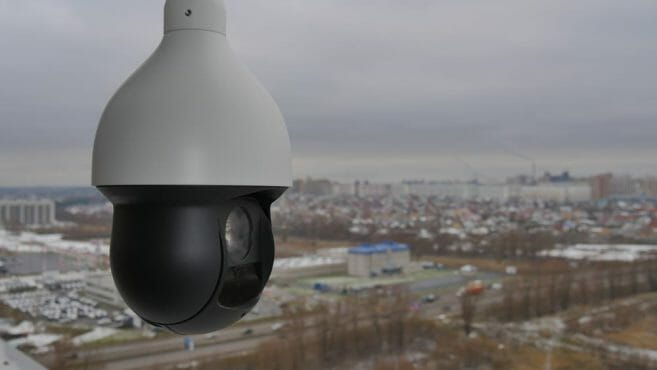 Controlled speed dome PTZ camera in outdoors