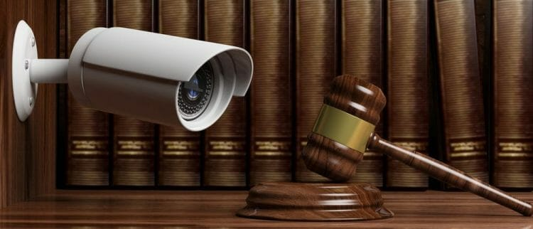 Crime, judge and security. Surveillance camera CCTV on blur lawyer office background