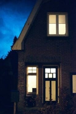 house with lights on