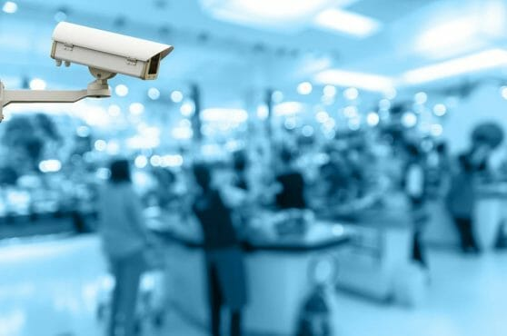 Security Camera Monitoring The Cashier Store Blur With Bokeh Bac