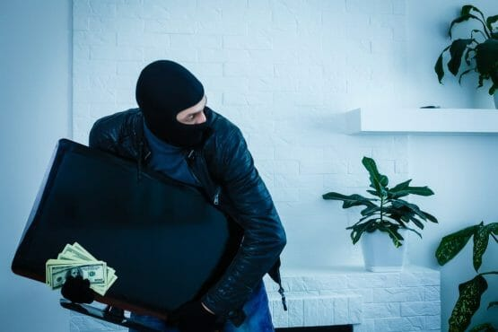 Man burglar in the house