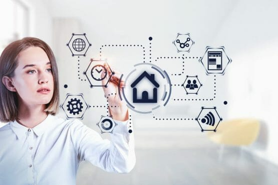 Young Woman Using Futuristic Smart Home System