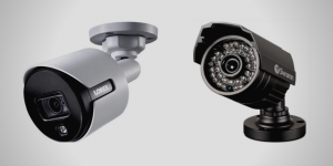 Lorex Analog 4K Weatherproof Indoor/Outdoor Camera side by side with Swann Multi-Purpose Day/Night Security Camera