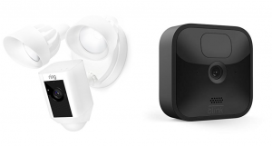 Ring Floodlight Camera side by side with Blink Outdoor Camera