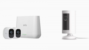 an Arlo (VMS4230P) Pro 2 side by side with Ring Indoor Cam, Compact Plug-In HD camera