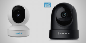 a Reolink E1 Pro 4MP HD Plug-in WiFi Camera in white color side by side with Amcrest 4MP UltraHD Indoor WiFi Camera in black color