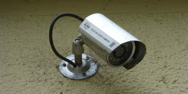 security camera installed on the wall